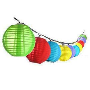 Set of 10 solar string coloured garden lantern lights