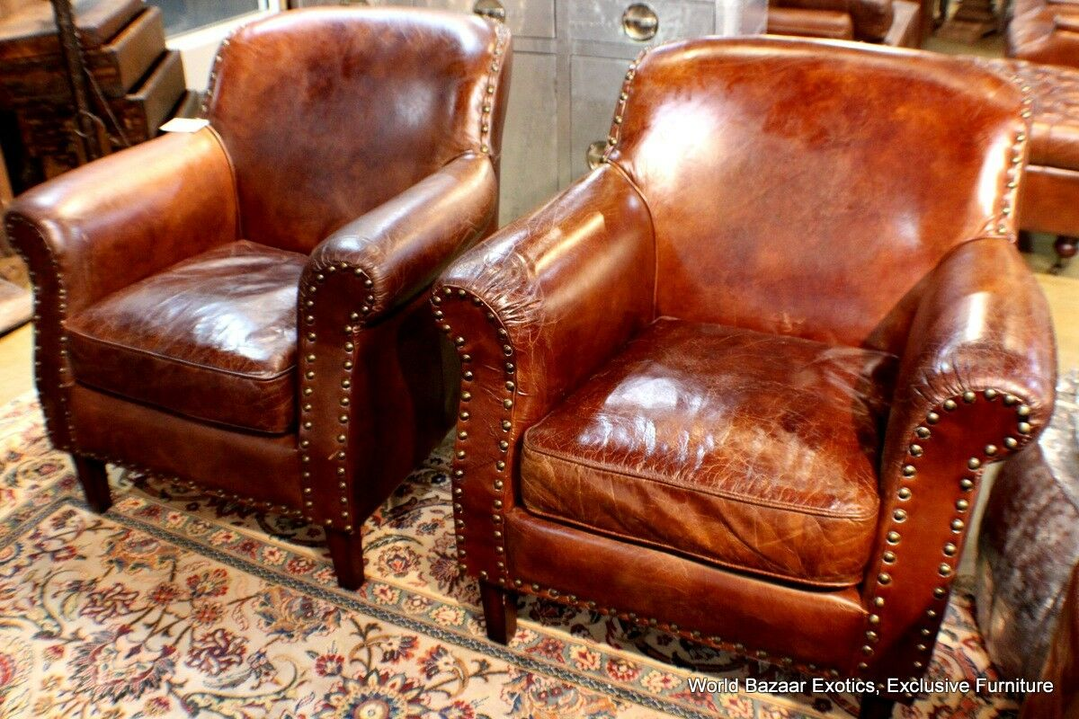 Set Of 2 Club Arm Chair Vintage Italian Brown Cigar Leather Super Comfortable Ebay