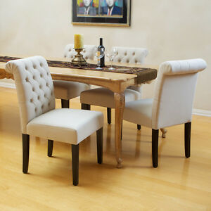 Armless Chairs on Of 2 Elegant Roll Back Tufted Linen Upholstered Armless Dining Chairs