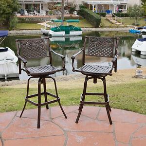 Set Of 2 Outdoor Patio Furniture Cast Aluminum Swivel Bar Stools EBay