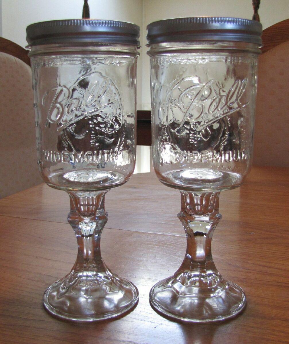 Set of 2 Redneck Hillbilly Mason Jar Wine Glasses   16 oz Wide Mouth Wine Glass