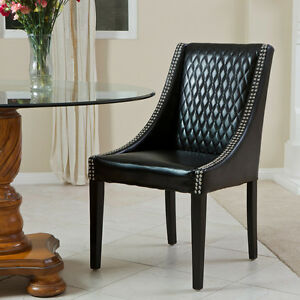 Set of 2 slopped arms quilted black leather dining chairs for Black dining chairs with arms