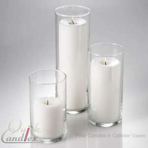 Set Of 3 Glass Cylinder Pillar Candle Vases Centerpiece