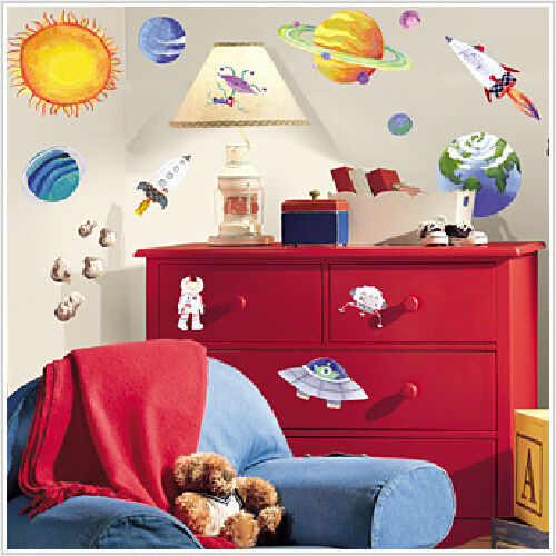 Set of 35 New OUTER SPACE WALL DECALS Planets Stars Stickers Boys Bedoom Decor in Home & Garden, Kids & Teens at Home, Bedroom, Playroom & Dorm Decor | eBay