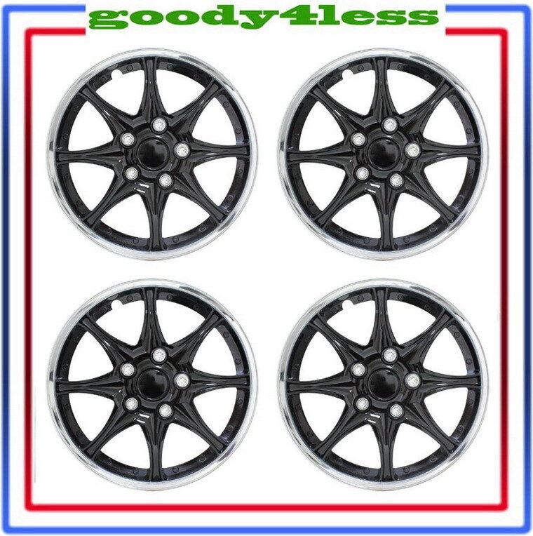 "Set of 4 16"" Black Chrome Wheel Covers Hubcaps Center Hub Caps Rim Tires"