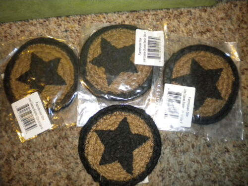 Set of 4 Black & Tan braided Jute Coasters, Primitive/Country decor Black Star! in Antiques, Primitives | eBay