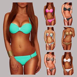 Sexy-Bandeau-metall-Buegel-Push-Up-Bikini-Gr-36-S-38-M-40-L-42-XL