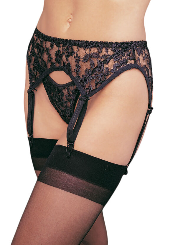 Leg Avenue 2 pc. Classic Lingerie Black Lace Garter Belt with Matching Thong Set at Sears.com