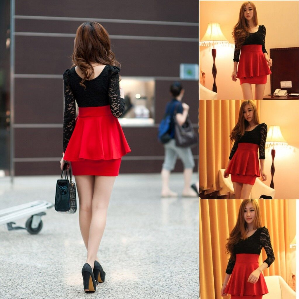 Sexy Black Lace Long Sleeve Red Clubbing Cocktail Party Mini Women Dress Fashion