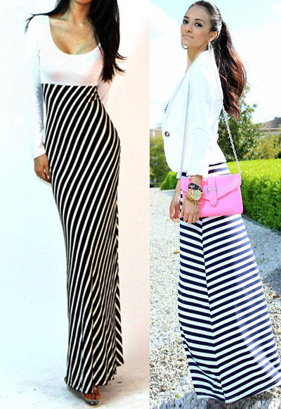 Sexy Black White Fitted Striped Long Sleeves Full Length Maxi Resort Dress S M L