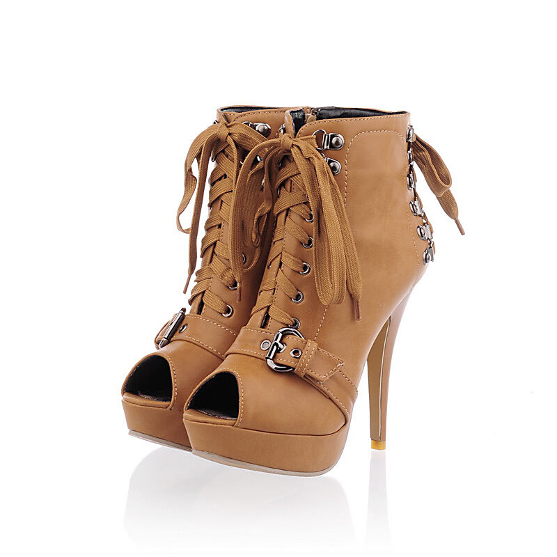 buckle 8cm high heel lace up ankle boots