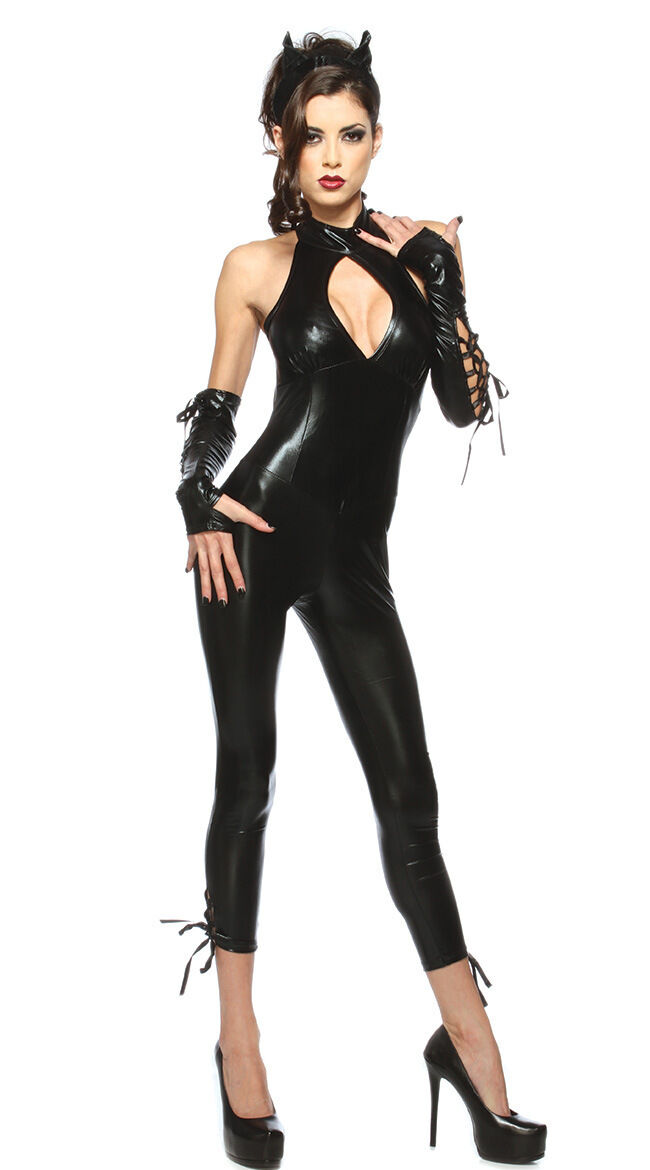 Sexy Black Cat Woman PU Leather Outfit Costume Set for ...