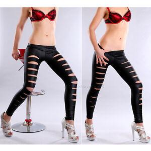 sexy glanz leggings mit rissen wet look leder optik. Black Bedroom Furniture Sets. Home Design Ideas