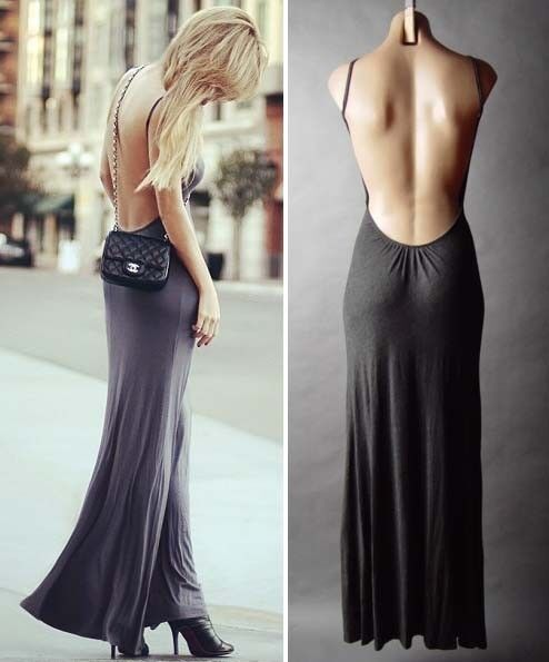 Sexy Gray Minimalist Backless Open Back Jersey Rayon Resort Long Maxi Dress SML