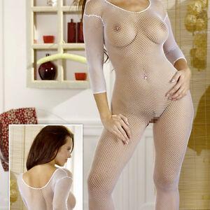 Sexy-NETZ-CATSUIT-weiss-Overall-Body-Anzug-mit-Fuss-Erotik-Dessous-114-S-L