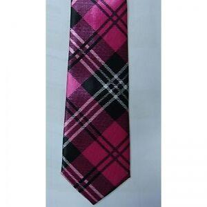 ... PINK-Tartan-Fasion-Tie-School-Girl-Geek-Nerd-Pink-Black-Tartan-Unisex