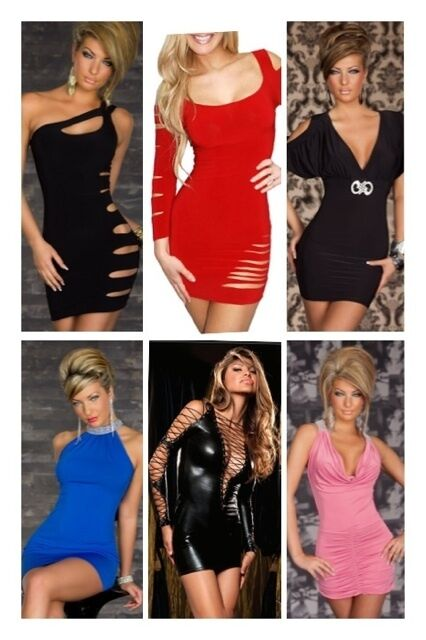 Sexy Party Cocktail Evening Wet Look Dance Clubwear Short Cut Out Mini Dress