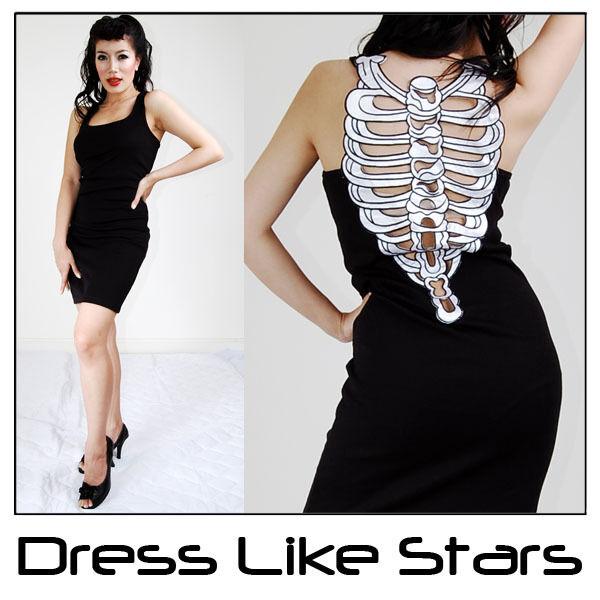 Sexy Skeleton Ribcage Punk Emo Women Shirt Top Dress M