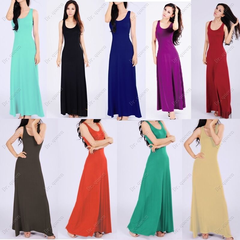 Women Casual Plain Round Neck Solid Full Length Long Maxi Vest Sun Dresses