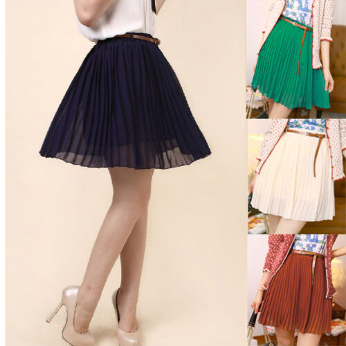 Sexy Women/Girls Retro Pleated Chiffon Waist Short Dress Mini TuTu Skirt & Belt