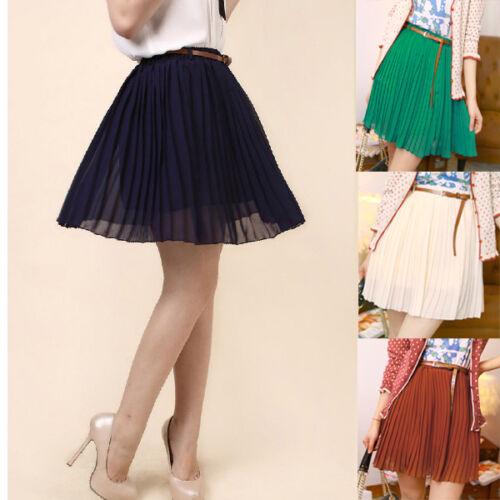 Sexy Women/Girls Retro Pleated Chiffon Waist Short Dress Mini TuTu Skirt & Belt