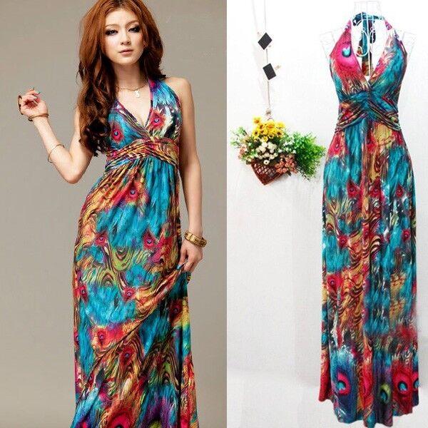 Women Summer Boho Halter V-Neck Long Maxi Evening Party Dress Beach Dresses