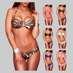 Sexy-metall-Buegel-Bandeau-Push-Up-Bikini-Gr-34-XS-36-S-38-M