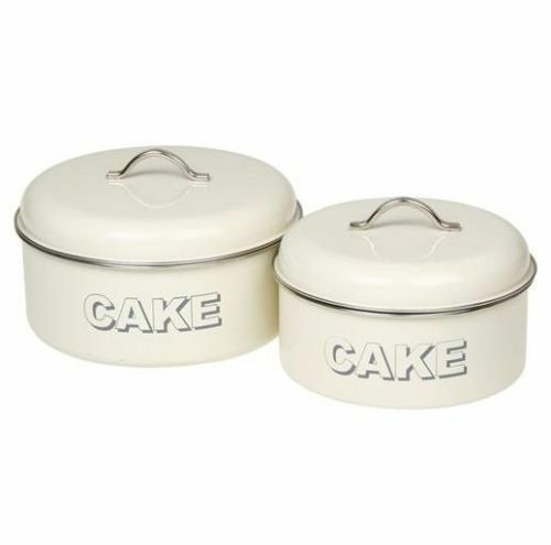 shabby chic vintage style set of 2 cake storage tins. Black Bedroom Furniture Sets. Home Design Ideas