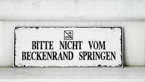 Shabby-Schild-Vintage-Nostalgie-antik-BECKENRAND-Landhaus-Toilette-Tuerschild
