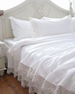 Shabby  Elegant Bedding on Shabby And Elegant White Wide Lace Duvet Cover Bedding Set   Ebay