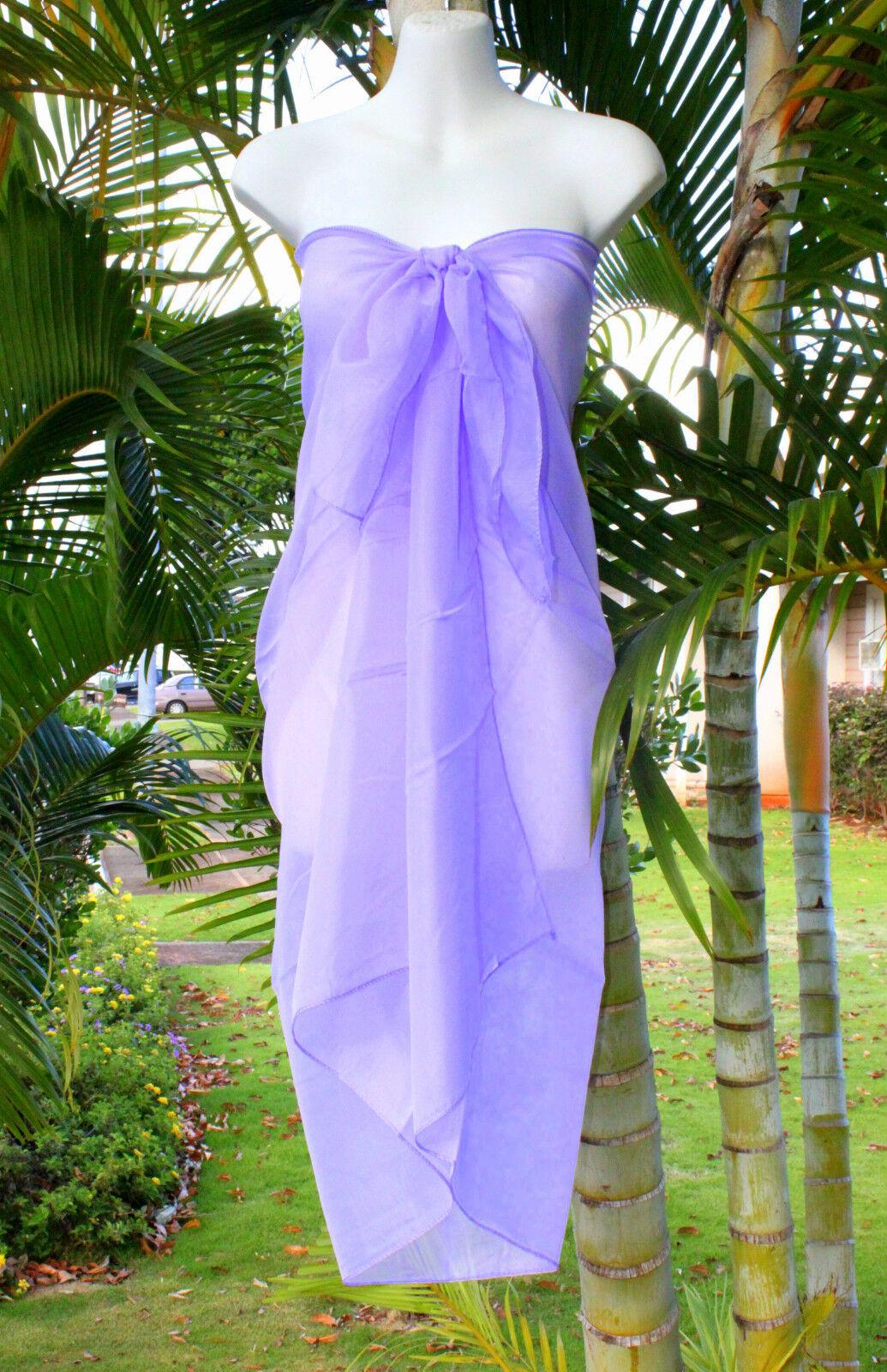 Sheer Sarong Solid Purple Beach Cover Up Hawaii Vacation