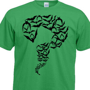 Sheldon cooper big bang theory riddler bats green t shirt for Riddler t shirt with bats