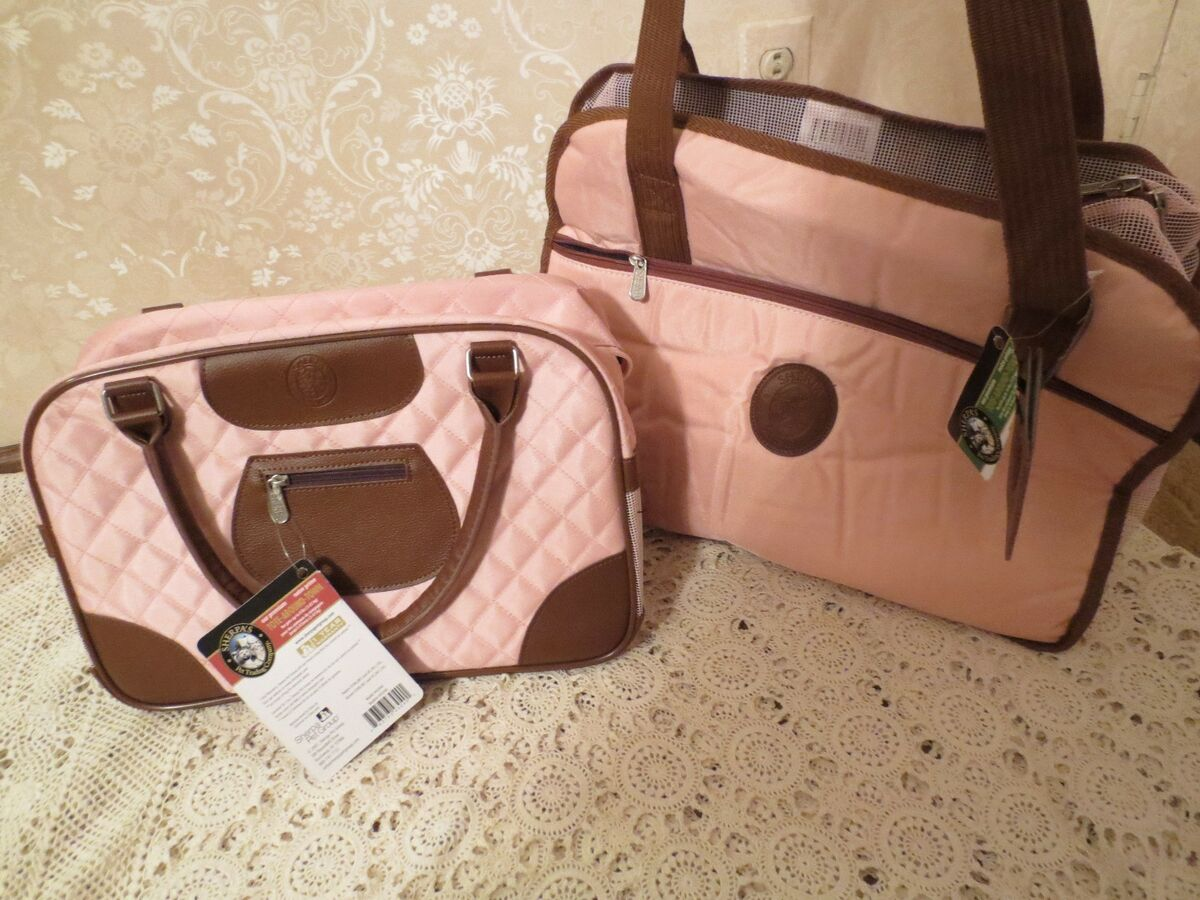 Sherpa Tote Around Town Purse Small Dog Puppy Pet Carrier Pink Large