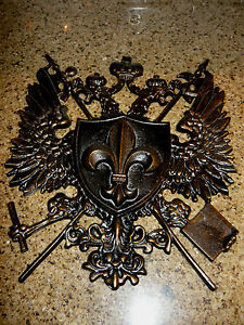 Shield medieval wall plaque metal decor coat of arms eagle crown fleur de lis - Plaque de decoration ...