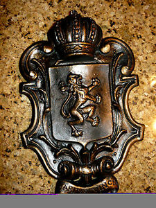 Shield wall plaque lion crown medieval old world cross fleur de lis eagle dec - Plaque de decoration ...