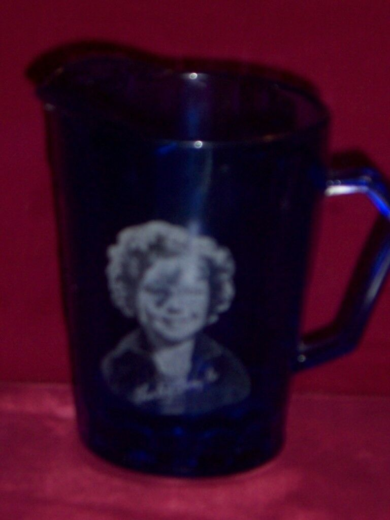 Shirley Temple blue glass small pitcher creamer Vintage Collectible