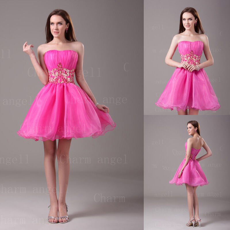 Short Hot Pink Prom Dresses Sweet Sixteen Dress Evening