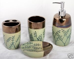 Shower accessories brown and green bathroom set the for Green and brown bathroom set