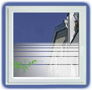 sichtschutz fensterfolie streifen mit floralornament sonnenschutz 58 cm hoch ebay. Black Bedroom Furniture Sets. Home Design Ideas