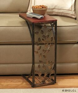 Side Sofa Table in Stock Tray Laptop Portable Wood Metal End TV ...