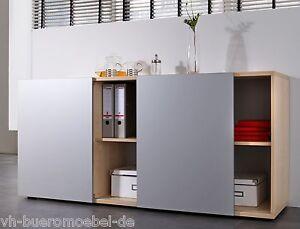 sideboard aktenschrank schiebet renschrank b roschrank schrank mit schiebet ren ebay. Black Bedroom Furniture Sets. Home Design Ideas