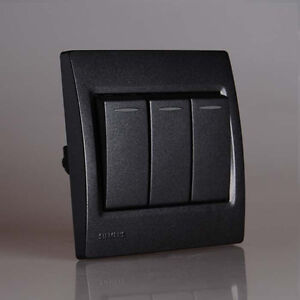Siemens modern design light switch socket vega black 1 2 3 4 gang 2 way ebay - Modern switches and sockets ...