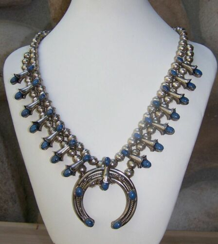 Signed Native American Sterling Silver And Lapis Squash Blossom Necklace in Jewelry & Watches, Ethnic, Regional & Tribal, Native American | eBay
