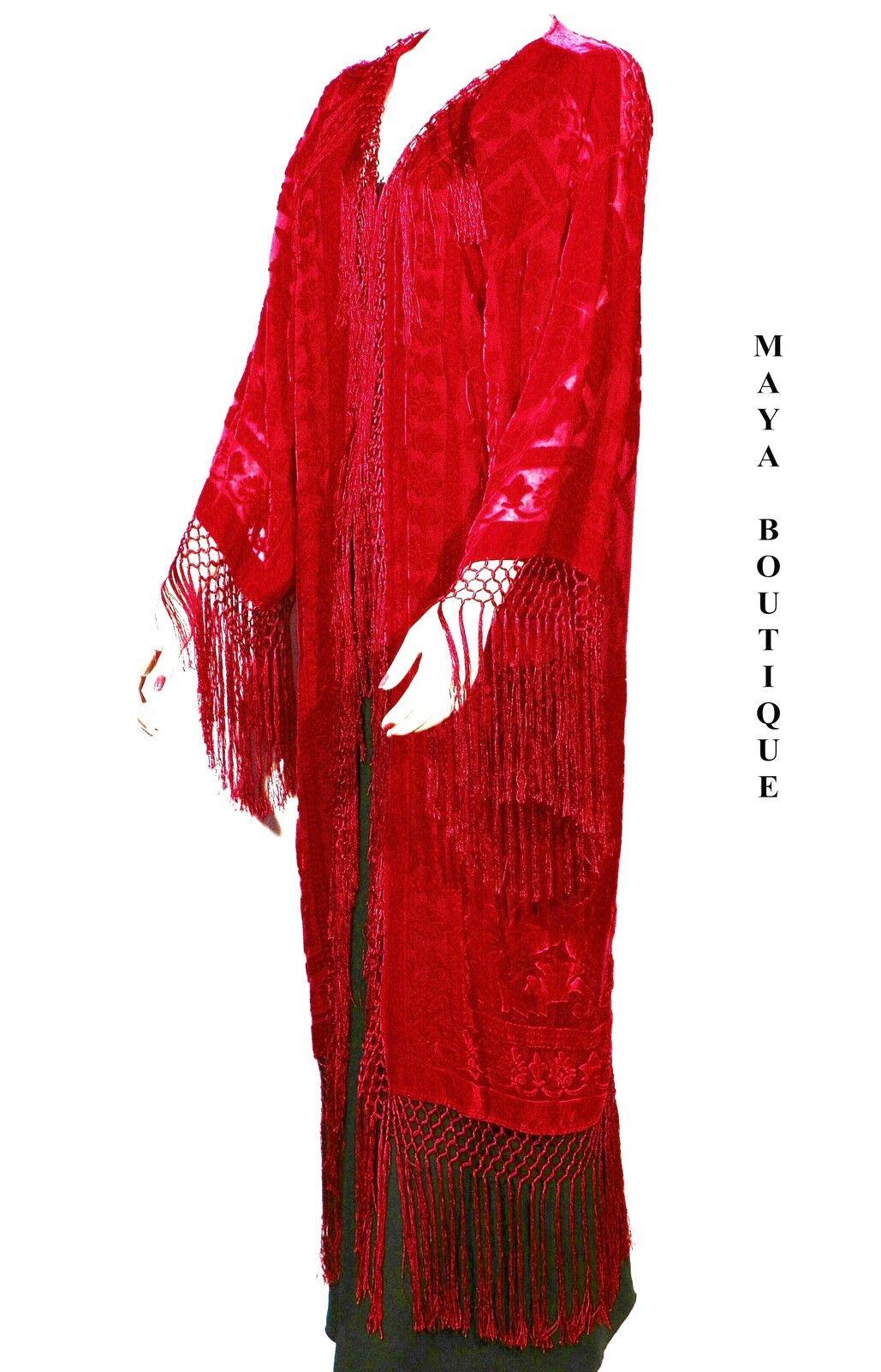 silk burnout velvet fringe jacket kimono red flapper style. Black Bedroom Furniture Sets. Home Design Ideas