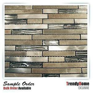 silver glass stainless steel natural stone blend mosaic