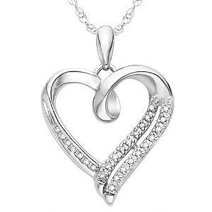 Silver HEART PENDANT Necklace .1ct WHITE DIAMOND Jewelry Gift FAST FREE SHIPPING in Jewelry & Watches, Fine Jewelry, Fine Necklaces & Pendants | eBay
