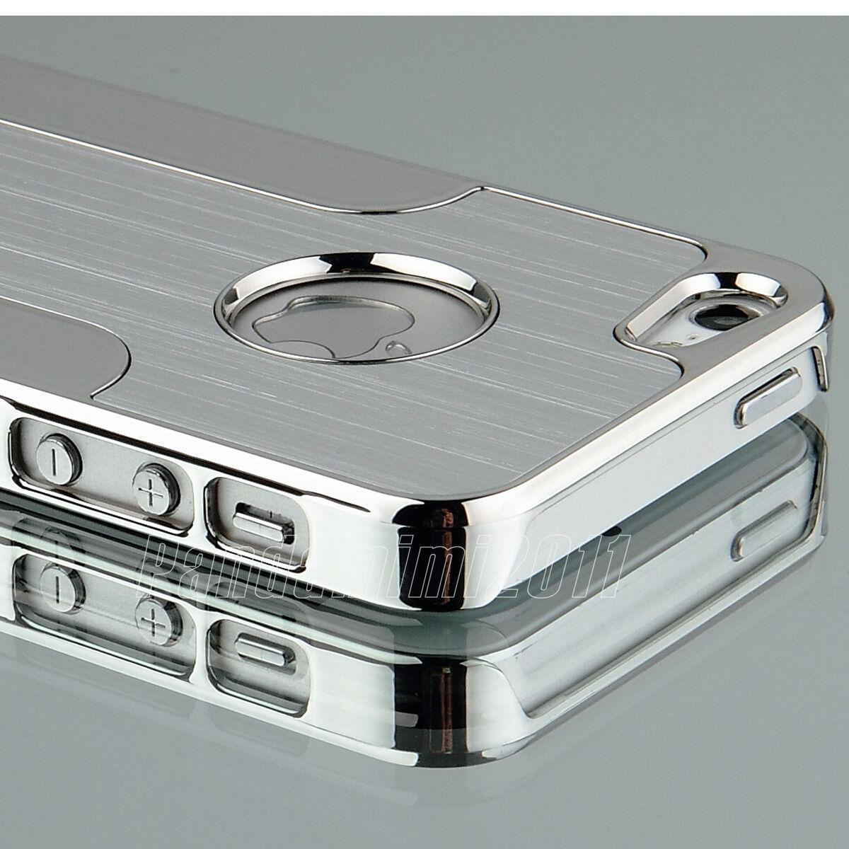 Silver Luxury Brushed Aluminum Chrome Hard Case For iPhone 5 5G 6th+Stylus+Film