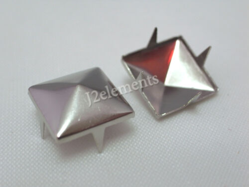 Silver Pyramid Studs Rock spikes spots heavy duty DIY in 4mm 6mm 8mm 10mm 12mm in Crafts, Home Arts & Crafts, Leathercraft | eBay