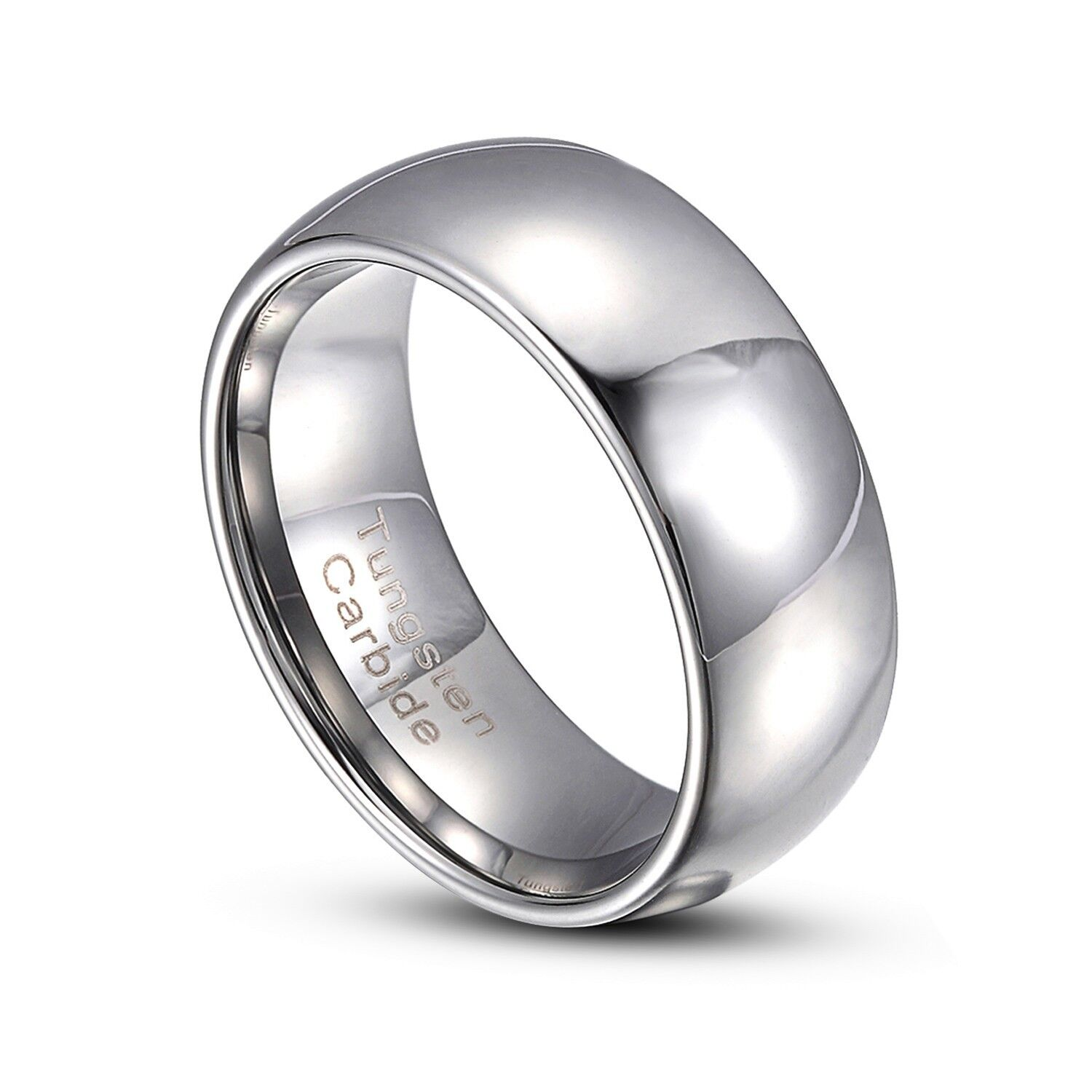 Silver Tungsten Carbide 7mm Comfort Fit Plain Rings Wedding Band Size