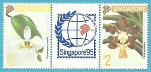 Singapur-aus-1993-postfrisch-MiNr-695-696-Dreierstreifen-Orchideen-TAIPEI93